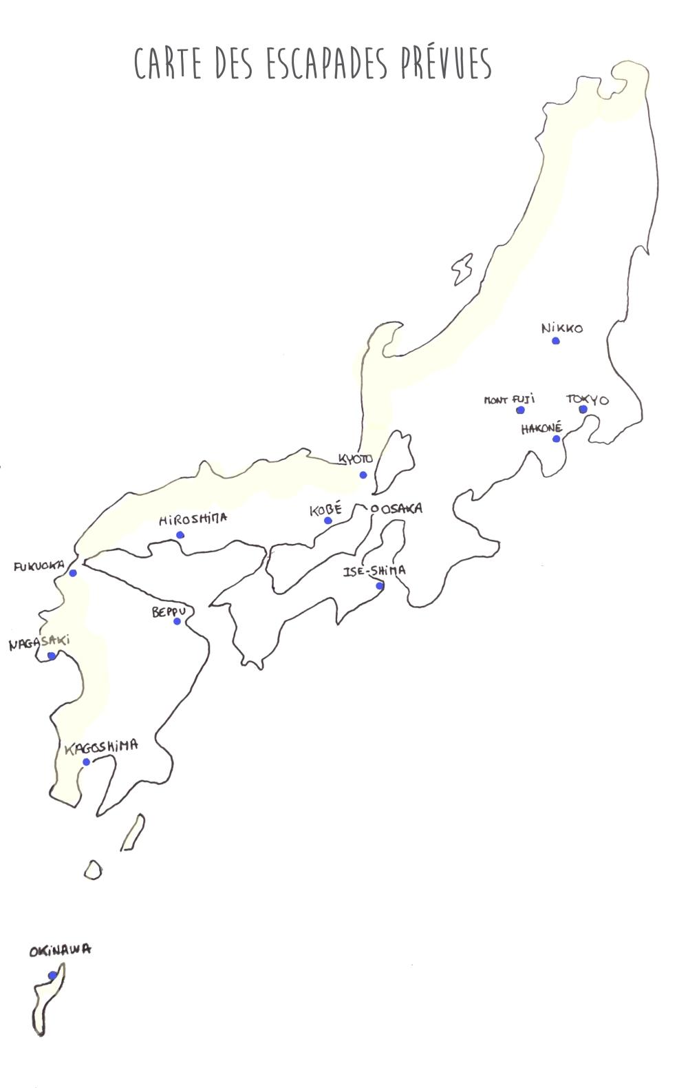 Carte des villes japonaises que nous allons visiter