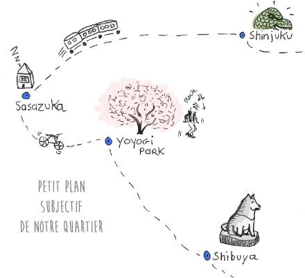 Plan subjectif du quartier du logement en guesthouse longue durée que nous avons trouvé à Tokyo dans le quartier central de Sasazuka entre le parc yoyogi et Shinjuku pour les 5 premiers mois de notre PVT au Japon