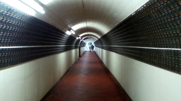 Tunnel pour rejoindre le Bouddha du temple Nanzoin à Fukuoka.