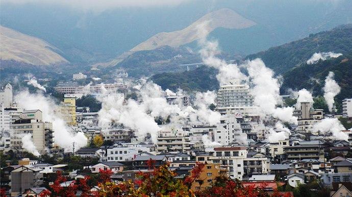 Vue de la ville de Beppu au Japon.
