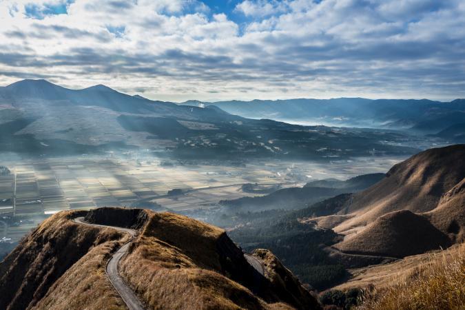 Vue du mont Aso. Source : welcomekyushu.com