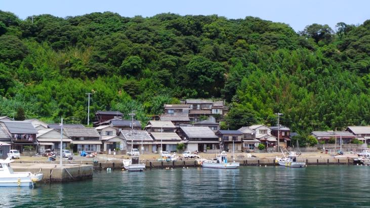 Vue de l'arrivée en ferry sur la baie de l'île d'Ainoshima, Fukuoka, Japon.