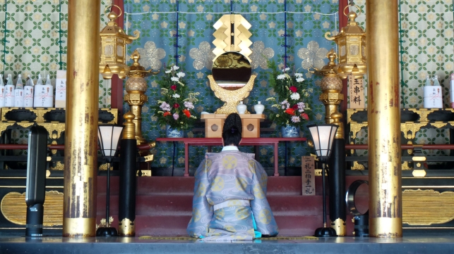 Cérémonie religieuse au sanctuaire Tenmangu de Dazaifu, Fukuoka