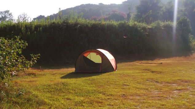 Notre tente, camping Itoshima, Japon