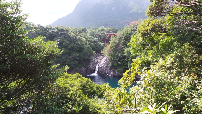La cascade toroki-no-taki sur l'île de Yakushima, Japon.