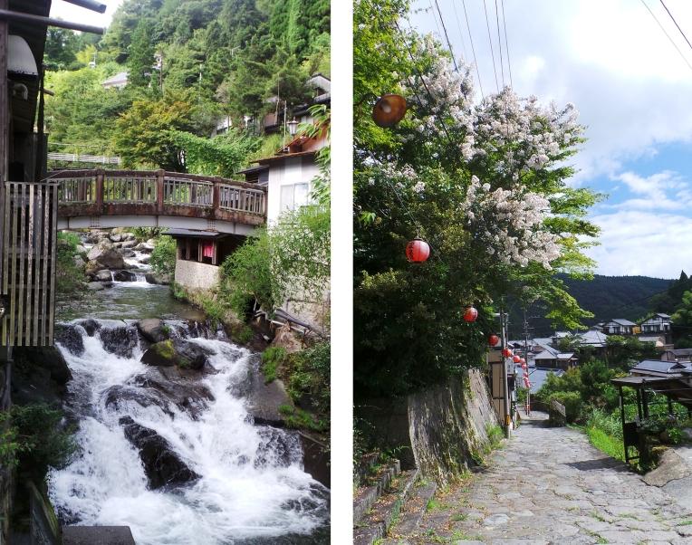 Cascade et allée bordée de fleurs dans le village de Yonohira près de Yufuin, Kyushu