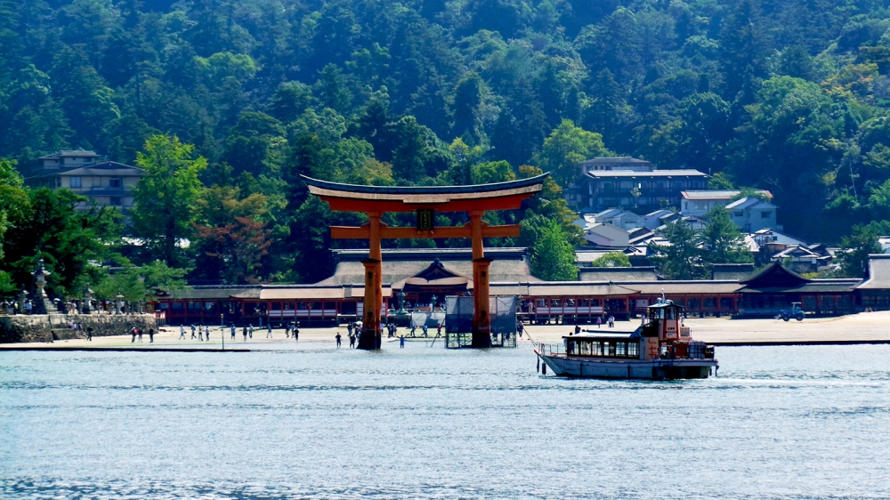 Visite de Miyajima, petite île au large d'Hiroshima, Japon.