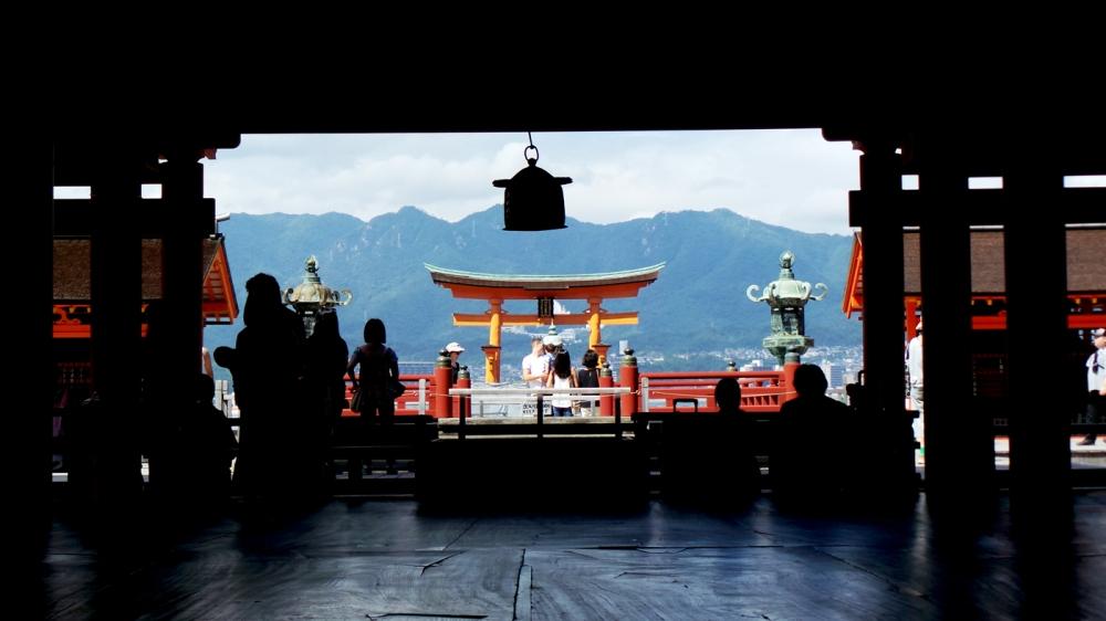 Sanctuaire Itsukushima à Miyajima, petite île au large d'Hiroshima, Japon.