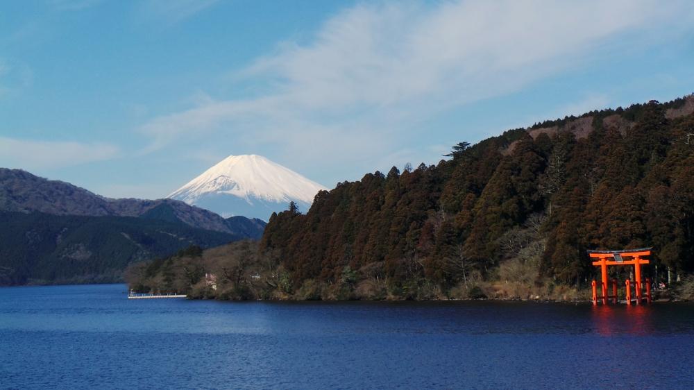 Le mont Fuji vu du lac Ashi à Hakone, Japon.
