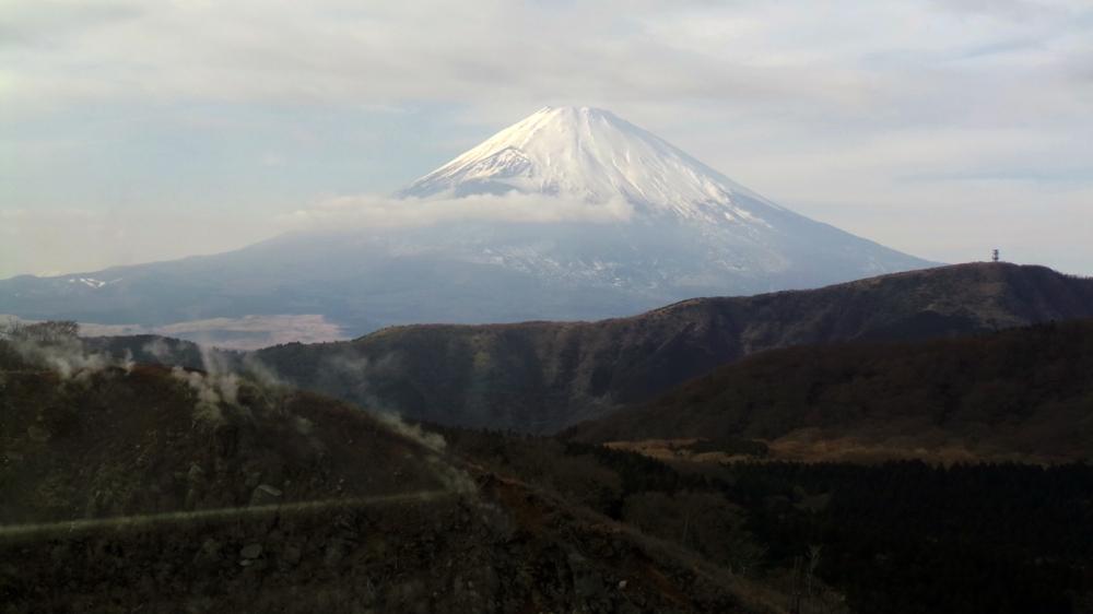 Le mont Fuji vu du funiculaire à Hakone, Japon.