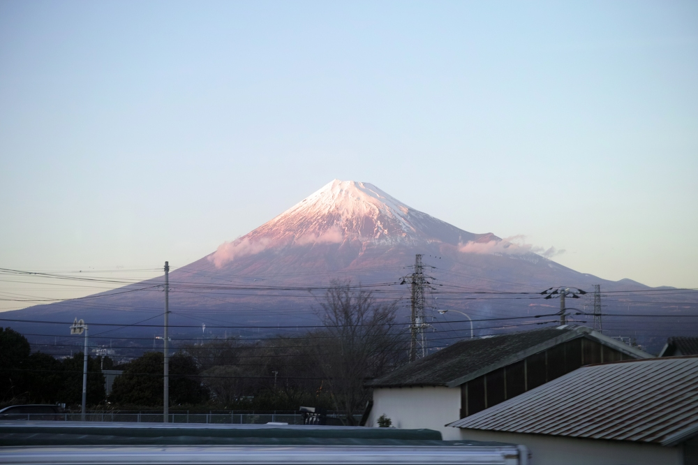 Coucher de soleil sur le Fuji dans la ville de Fuji, préfecture de Shizuoka, Japon.