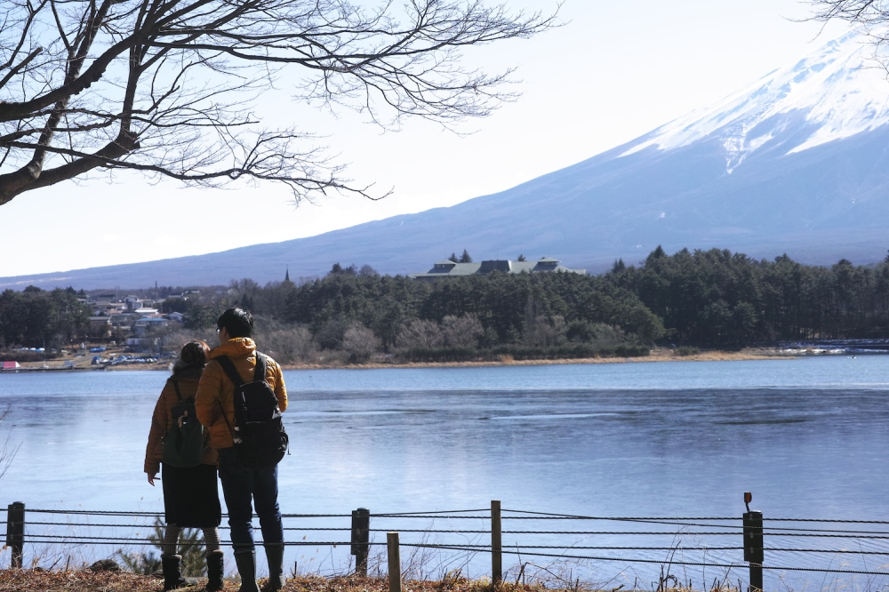 Motosuko, l'un des cinq lacs bordant le Mont Fuji, région des cinq lacs, Japon.