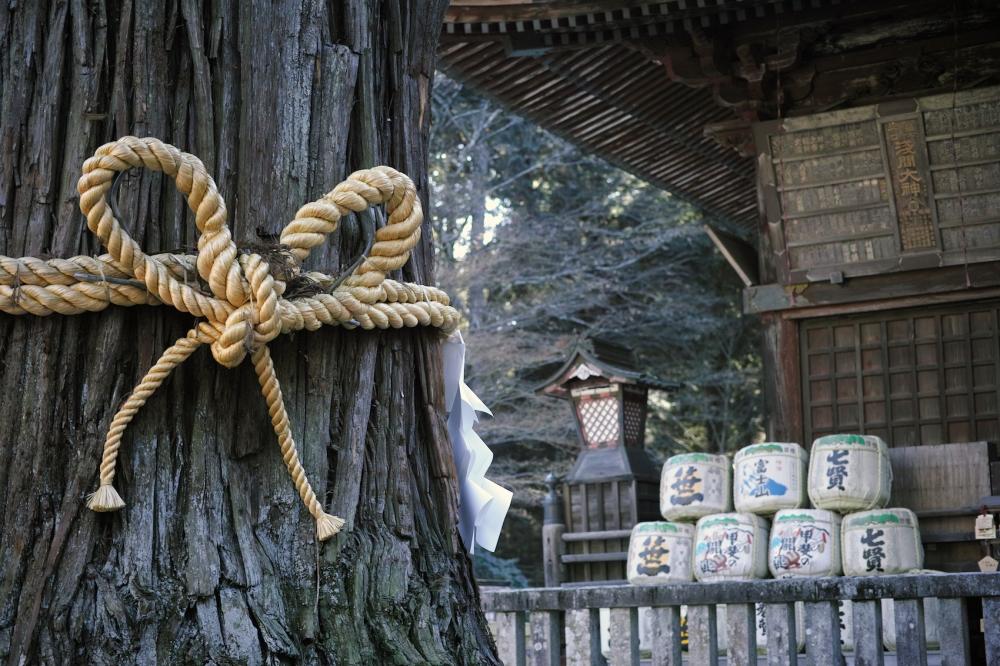 Sanctuaire Kitaguchi Hongu Fuji Sengen Jinja près du mont Fuji, Japon.
